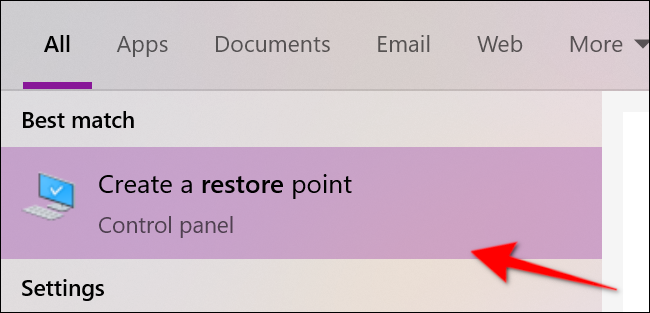 Membuka create a restore point melalui start menu
