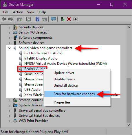 menginstal driver audio dengan Scan for Hardware Changes